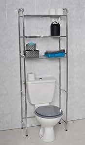 Scaffale cromato salvaspazio per bagno dotato di 3 ripiani casa e cucina - Scaffali per bagno ...