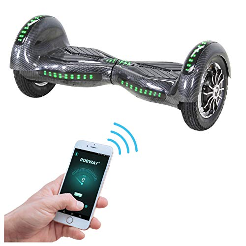 Robway W3 Hoverboard - Das Original - Samsung Marken Akku - Self Balance - 21 Farben - Bluetooth - 2 x 400 Watt Motoren - App - LED (Carbon) -