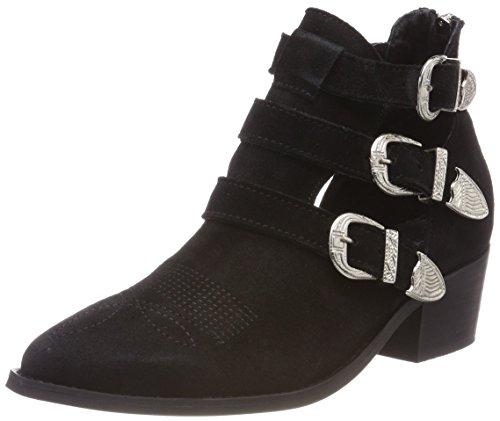 Pavement Damen Carina Cut Stiefeletten, Schwarz (Black Suede), 39 EU (Buckle Boots Suede Black)
