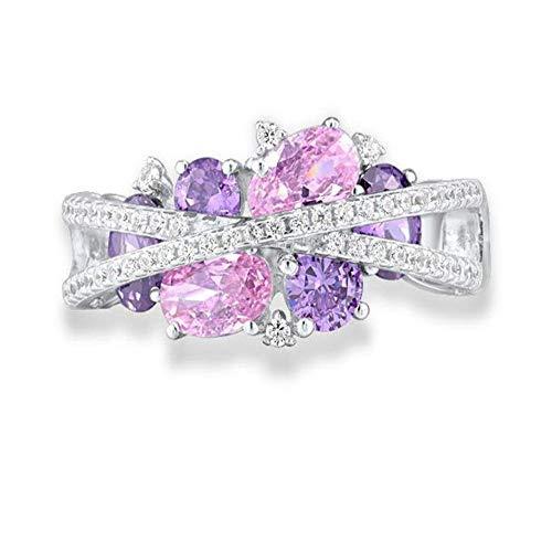 XCWXM Ringe Ringe Für Silberringe Für Frauen Echtes 925 Sterling Silber Schimmernder Amethyst Rosa Zirkonia Trendy Edlen Schmuck 7.5