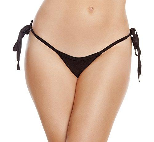 Roma Damen Solid Low Rise Tie Side Tanga Bikini Bottom - Schwarz - Einheitsgröße -