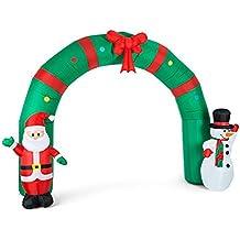 Oneconcept MerryWelcome decoración navideña iluminación navideña iluminación LED Arco Grande Santa Claus muñeco de Nieve Inflable