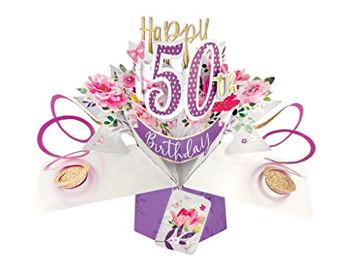 Female 50th Birthday Pop-Up Card with Roses Theme