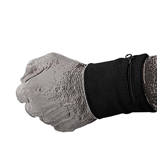 (SportBasics Schweißband mit Reißverschlusstasche Black Schwarz | Armband Handgelenkband Schweißarmband Sicherheitsarmband Fach Tasche Geldbeutel)