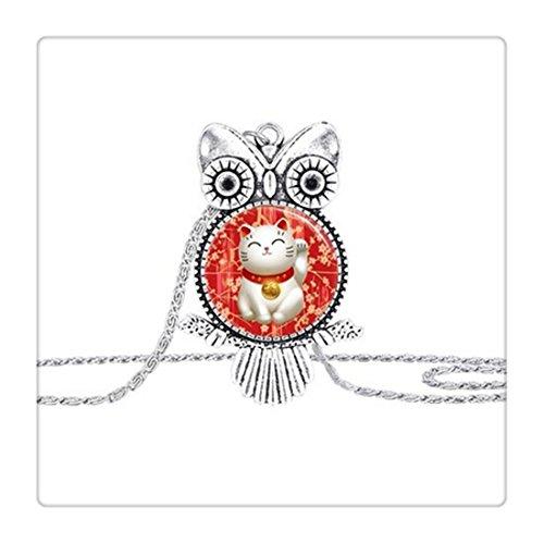 Collana Gufo Rosso Con Gatto portafortuna Maneki Neko Portafortuna Arte cupola in vetro gufo collana