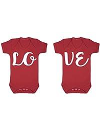 Amor Gemelos Babygrow chaleco Onesie 2 unidades Set