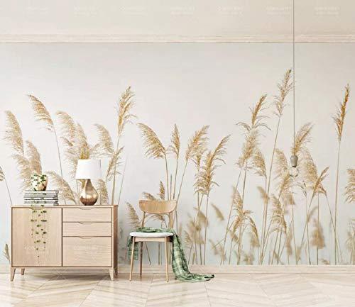 Fototapete 3D Effekt Nordische unbedeutende Wand des frischen Schilfs Tapete Vliestapete Wandbilder Wanddeko