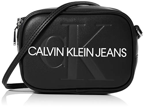 Calvin Klein Damen Sculpted Monogram Camera Bag Laptop Tasche, Schwarz (Black), 8x12x17 cm