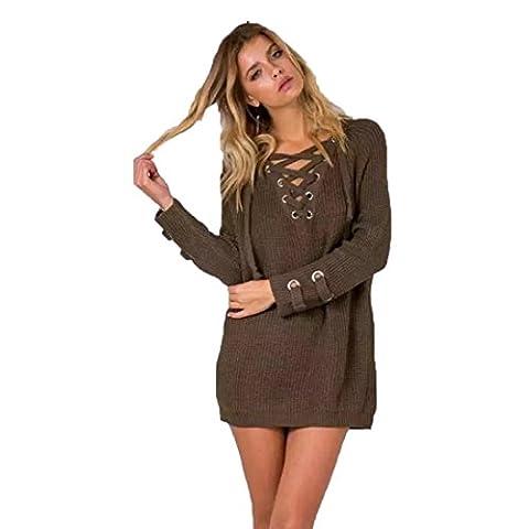 Reaso Femme Robe Loose Sweater Col V Pull En Casual Tricots Sweater Manches Longues Shirt Retro Coton Blouse Elegant Mini robe (Taille unique, café)