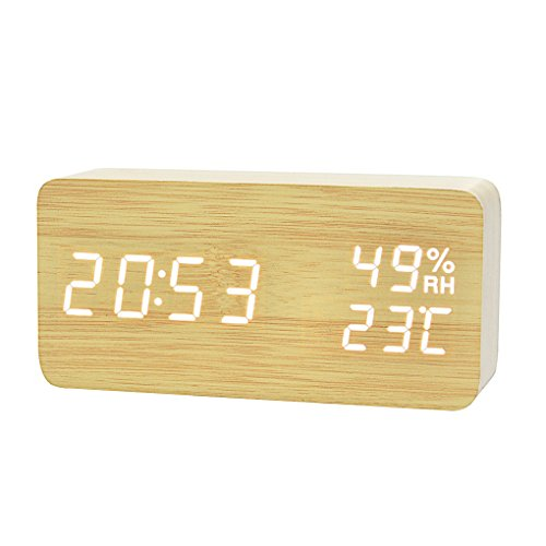 Mengonee LED Sonic Moderne LED Bambus Holz Wecker Temperatur Luftfeuchtigkeit Elektronische Desktop Digital Tischuhren