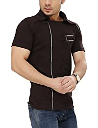 Tees Collection Men's Cotton Half Sleeve Side Zipper Brown Color Stylish T-Shirt With Collar