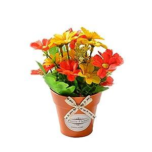 anjs456 Flor de crisantemo Artificial con jarrón de plástico bonsái Flores Artificiales para Boda Fiesta jardín Granja…