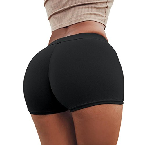 Damen Panties Goosun Sommer High Cut Hose Frau Sport Shorts Fitness Yoga Bund Dünn Kurze Hosen Light Sporthose Seamless Boxershorts Schlüpfer Unterhose Unterhosen Panty Mini Shorts (L, Schwarz) (High-cut-panty Kurze Schwarz)