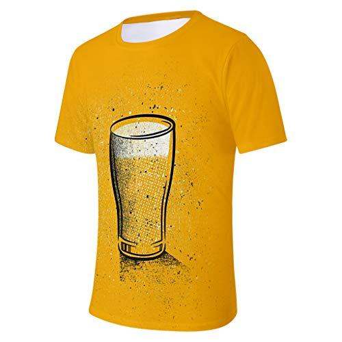 SHE.White Unisex 3D Bier Druck Lustige Grafik T-Shirt Sommer Casual Kurzarm Shirt Herren Aufdruck Rundhals Tee Hemd Große Größe Festival Top M-4XL -
