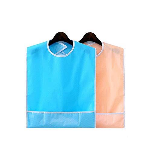 Black 2PCS Wasserdicht Lätzchen für Erwachsene wiederverwendbar Essservice Displayschutzfolie waschbar Kleidung Ölpest Behinderung Hilfe Schürze (Sky orange blau + pink) -
