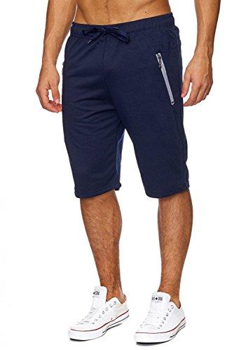 Capris Comfort (Max Men Herren Sweat Shorts (Comfort Fit) kurze Sport Jogging Pant - Sweat Bermuda mit Tunnelzug für den Sommer H1830,Blau,XL)