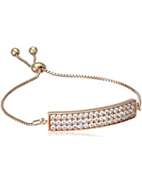 Hot Diamonds Clear Crystal Triple Fila bañado en oro rosa pulsera de 19 cm