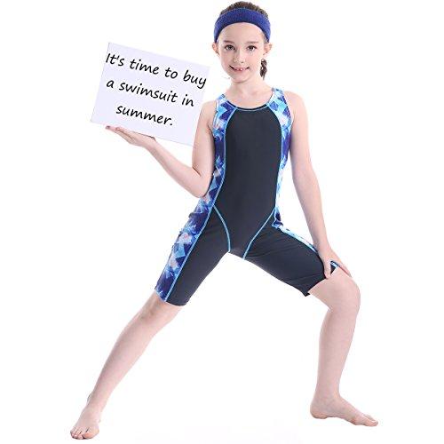 teiliger Badeanzug Knielangen Wettbewerbs Badebekleidung Bodys Professionelle Wettbewerb Schwimmen Kostüme Sonnenschutz Kleidung Alter 5-14 Jahre (Kostüm Wettbewerb Bilder)