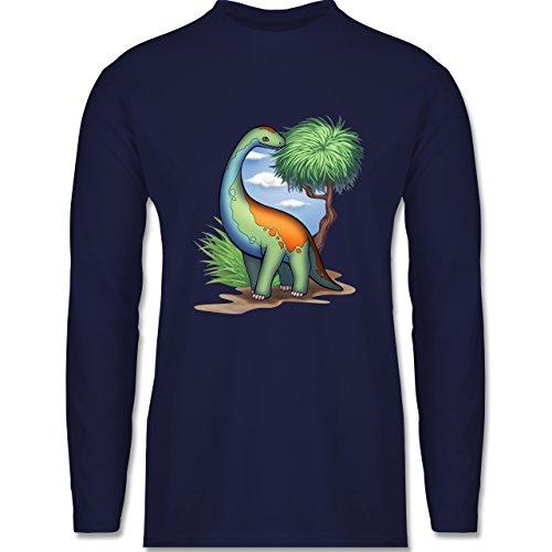 Shirtracer Sonstige Tiere - Dino - Langhals - Herren Langarmshirt Navy Blau