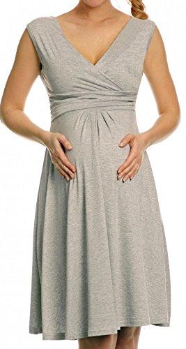 *Zeta Ville Damen Schönes Umstandskleid Sommer Kleid Zum Stillen Geeignet 256c (Grau Melange, EU 46, 3XL)*