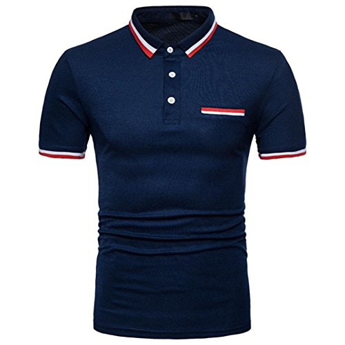 OSYARD Männer Sommer T-Shirt,Beiläufige dünne Kurze Hülsen Spitzenbluse der Mode Persönlichkeits mit Polokragen,Angebote, Deals,Herren Poloshirt Mode Tops Freizeit Party Basic Hemd
