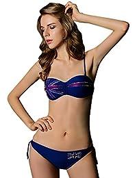 Dehang - Maillot de Bain Femme Bikini 2 pièces Bandeau imprimé Drapeau Push Up - Couleurs et Tailles au choix