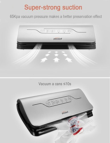 4 in 1 Vacuum Sealer Machine – Sous Vide Vacuum Sealing Vac Pack Machine,  Automatic Vacuum Sealing System with Cutter , Vacuum Roll and Sealer Bags for Food Preservation (2018 New Design), Yocool