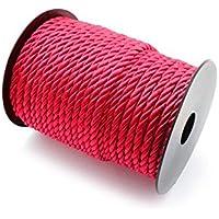 RUBY-Cordón Trenzado, Cordón Rayon 5.5mm, Bobina de 30 metros Envio urgente gratis(Rojo)