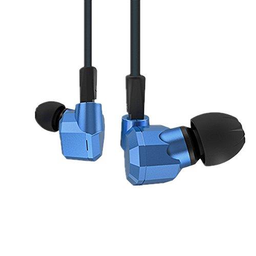 Yinyoo KZ ZS52DD + 2BA Hybrid In-Ear-Kopfhörer, HiFi DJ-Monitor mit Ersatz-Kopfhörer-Kabel, kabelgebundenes In-Ear-Headset mit Geräuschunterdrückung Blue no microphone