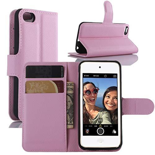 HualuBro iPod Touch 7 Hülle, Leder Brieftasche Etui LederHülle Tasche Schutzhülle HandyHülle Handytasche Leather Wallet Flip Case Cover für Apple iPod Touch 7g 7th Generation 2019 (Pink) - Apple Ipod Leder