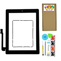 XIAO MO GU Black Digitizer Touch Screen Outer Glass Panel for iPad 3 3rd Gen Generation A1416 A1403 A1430 with Home Button Flex Cable Assembly + Premium Tools + Adhesive Tape