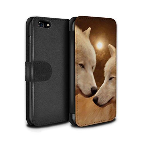 Officiel Elena Dudina Coque/Etui/Housse Cuir PU Case/Cover pour Apple iPhone 7 / Loups Blancs Design / Les Animaux Collection Loups Blancs