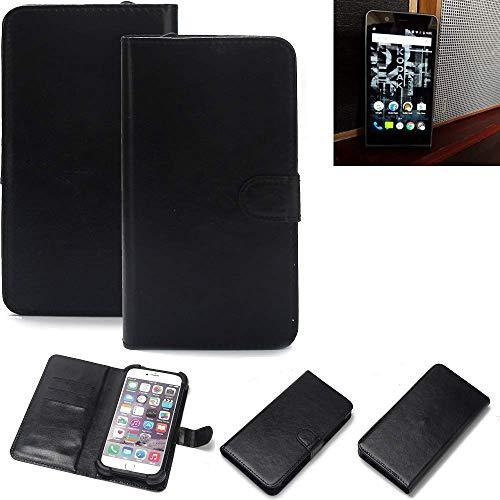 K-S-Trade® Wallet Case Handyhülle Für Kodak Ektra Schutz Hülle Smartphone Flip Cover Flipstyle Tasche Schutzhülle Flipcover Slim Bumper Schwarz, 1x