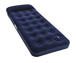 Pavillo Twin Airbed Quick Inflation Outdoor Air Mattress with Built-In Foot Pump/Pillow, Blue, Single