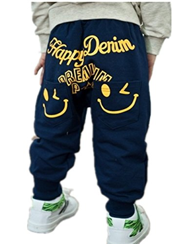 Kids Boys Cartoon Unique Smiling Clothes Harem Pants Trousers (130 (5-6 Years), Navy)