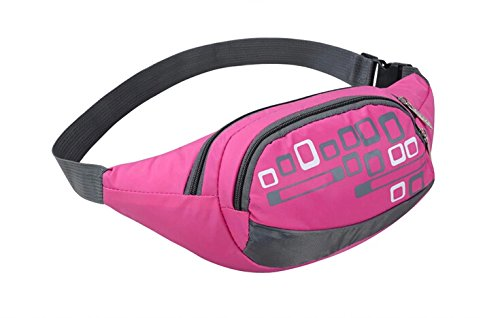 New Fashion Damen Sporttasche Reißverschluss Taschen Taille Tasche Brust Pack mit Handy Tasche & Automatische Regenschirm & kleinen persönlichen Gebrauch Was für Männer und Frauen - rose red