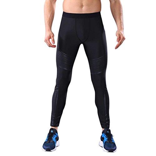 Herren Yoga Hosen Fashion Workout Leggings Fitness Sport Gym Laufen Yoga Sportliche Hosen (S, Schwarz)