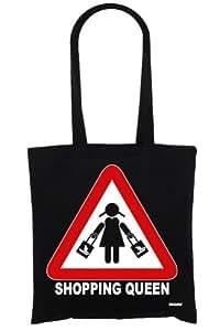 BAGzilla - Shopping Queen Achtung Baumwolltasche, Jutebeutel, Stoff Tasche, schwarz