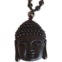 Reiki Energía Carga Buda Obsidiana Negra Cristal Colgante con cable (bonito regalo envuelto)