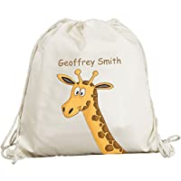 Personalised - Cute Giraffe Head Design - Canvas Drawstring Rucksack/Backpack
