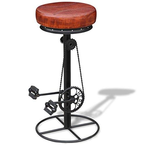 Festnight Bar Hocker Barhocker Barstuhl mit Fahrrad-Pedalen Echtleder-Sitz 40 x 43 x 80 cm Braun und Schwarz