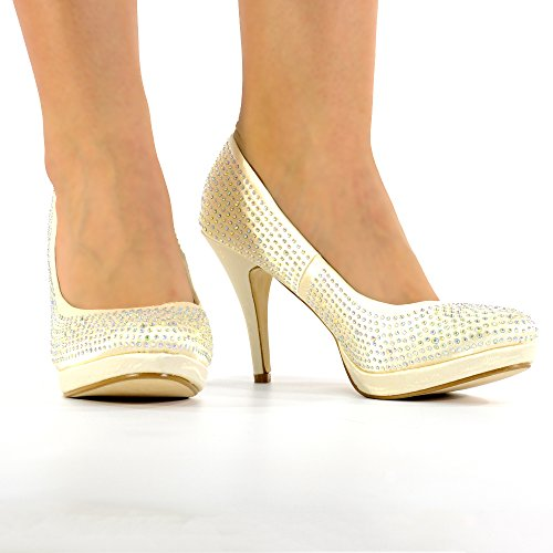 WOMENS LADIES DIAMANTE HIGH HEELS BRIDAL PROM EVENING PARTY SHOES SIZE 3-8