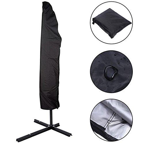 Copertura per ombrellone, handingsm impermeabile esterna impermeabile resistente ai raggi uv ombrello copertura con zip per diametro 3m grande ombrellone da giardino con cerniera borsa portaoggetti, nero