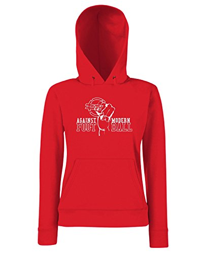T-Shirtshock - Sweats a capuche Femme TUM0162 AGAINST MODERN FOOTBALL Rouge