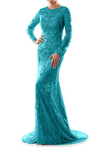 MACloth Women Mermaid Long Sleeve Lace Evening Formal Gown Wedding Party Dress Turquoise