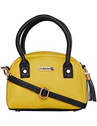 ESBEDA Yellow & Black Solid PU Synthetic Slingbag For Women