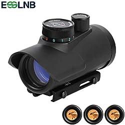 ESSLNB Viseur Point Rouge Rouge/Vert/Bleu 3 Luminosité Lunette de Visee avec 20mm/22mm Weaver/Picatinny Rail Mount et Couvertures de Protection pour Chasse