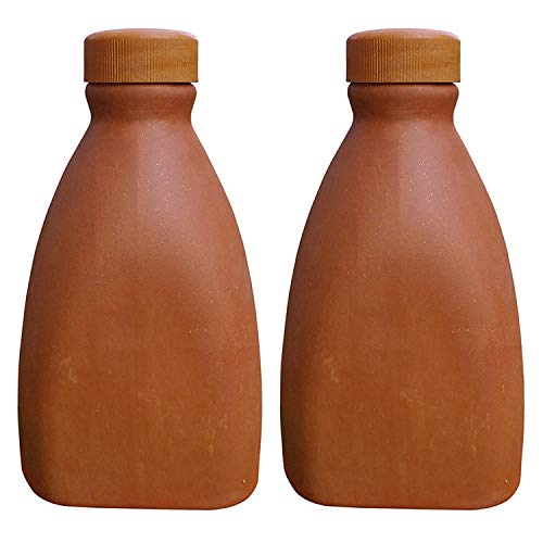 HIMALAYA HANDICRAFTS Clay Small Water Bottle Pack of 2 (500 ML)