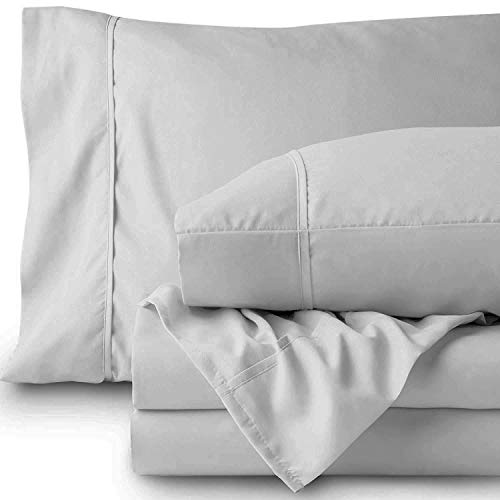 Baumwolle Perkal Blätter (LINENWALAS 800tc Reine Baumwolle Blatt Cushion and Pillow Covers Hellgrau)