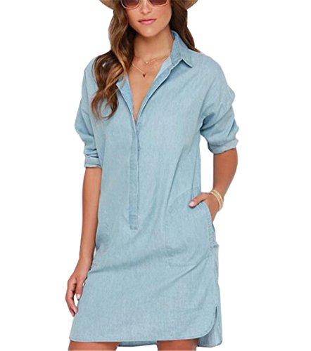 AILIENT Frauen Oberteile Knielang Ärmeln Jeanskleid Damen Blusenkleid Tops Damen Denim-Kleid Flauschig Langshirts